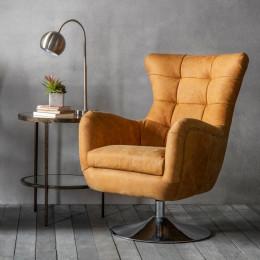Modern leather swivel chair saddle tan