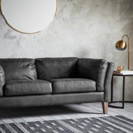 Vintage 2 seater sofa antique ebony leather