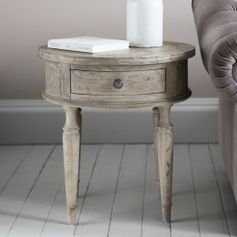 Vintage round 1 drawer side table
