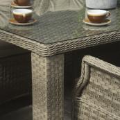 Hampton 6 seat set with rectangle table sand colour cushions