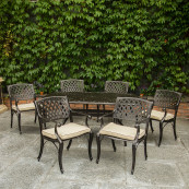 Fitzhenry 6 seat set with rectangular table bronze