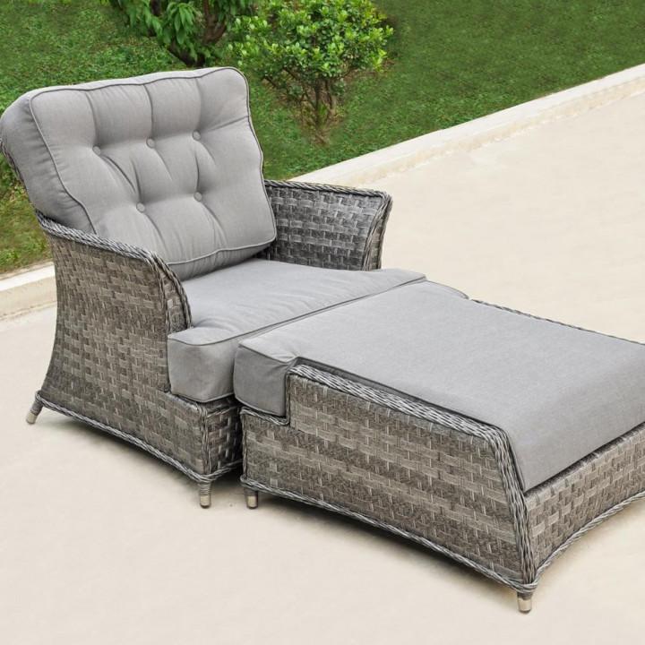 York armchair with footstool