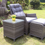 Bali recliner lounge companion set dark grey
