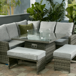 Bali casual dining firepit set dark grey