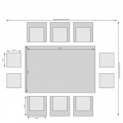 Oxford 6 seat cube set with rectangular table light grey