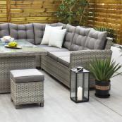 Bali corner sofa set with rectangular table light grey