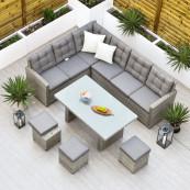 Bali corner set oblong table sofas stools cushions