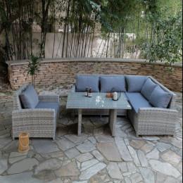Kansas corner sofa set with rectangular table light grey