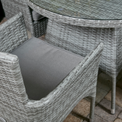 Cuba 4 seat set with 100cm round table stacking chairs light grey