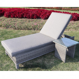 Bali sun lounger with cushions table