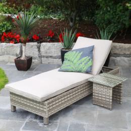Hampton sun lounger table sand colour cushions