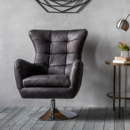 Modern leather swivel chair antique ebony