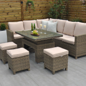 Chester corner sofa set with rising table