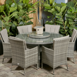 Sicily 6 seater round set with lazy susan