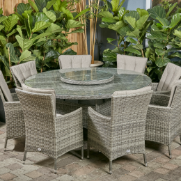 Sicily 8 seater round set with lazy susan