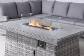 Turin corner firepit with stools