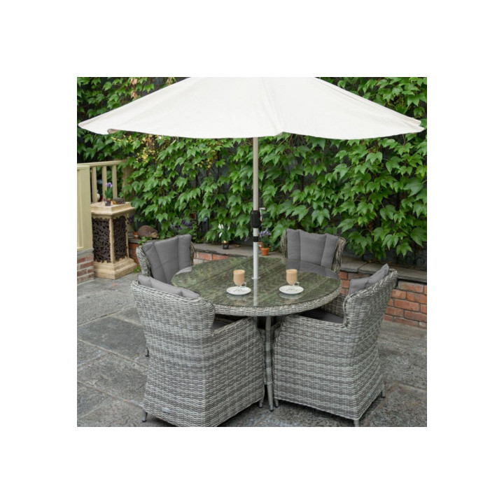 Yale 4 seat set with 120cm round table grey cushions