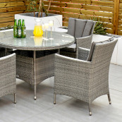 Cuba 4 seat set with 120cm round table light grey