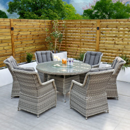 Bali 6 seater round table and chairs set cushions