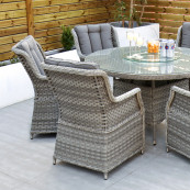 Bali 6 seat set with 135cm round table light grey