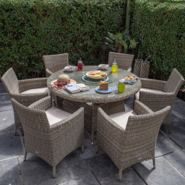 Dumont 6 seat set with 135cm round table natural