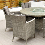 Cuba 6 seat set with 135cm round table light grey