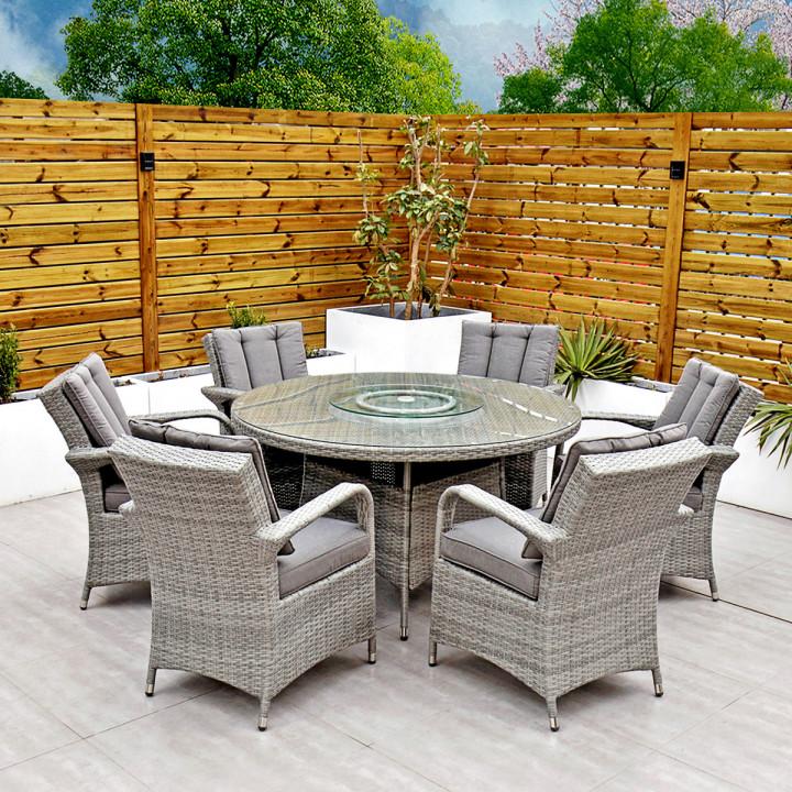 Havana 6 seat set with 135cm round table light grey