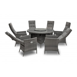 Rw 6 seater round reclining set with lazy susan