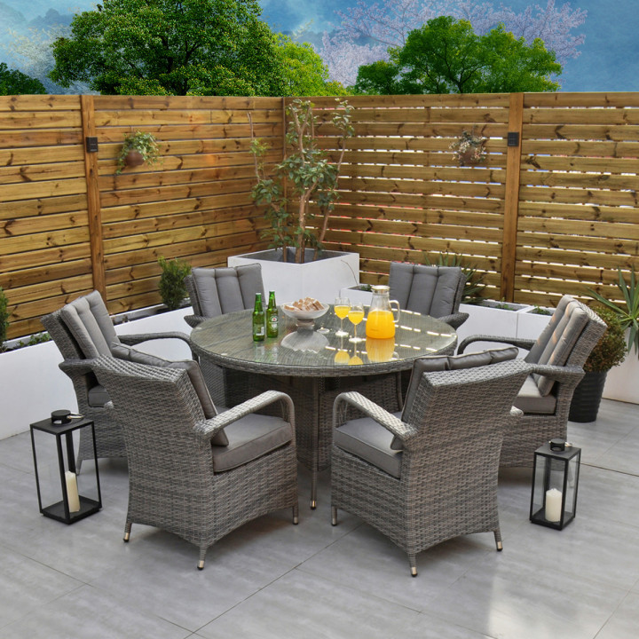Rw bari 6 seater set with 155cm round table with lazy susan