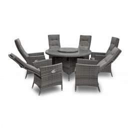 Sahara 6 seater reclining set with 155cm round table and lazy susan