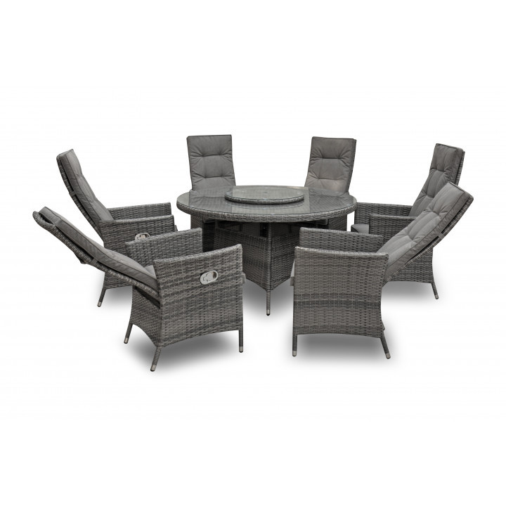 Rw 6 seater reclining set with 155cm round table and lazy susan