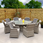 Bali 8 seat set with 170cm round table light grey