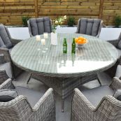 Yale 8 seat set with 170cm round table dark grey