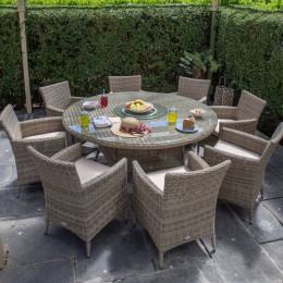 Dumont 8 seat set with 170cm round table beige cushions