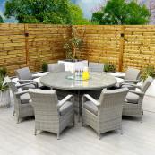 Havana 8 seat set with 170cm round table light grey
