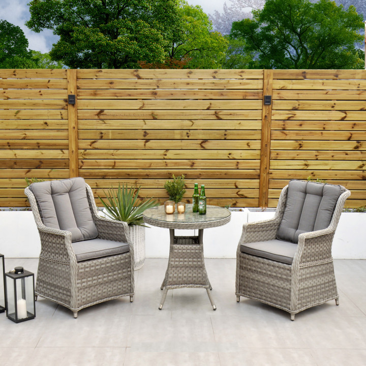 Bali bistro set round table two armchairs cushions