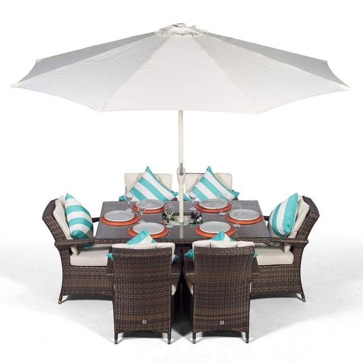 Rw 6 seat set with rectangular table ice bucket dark brown