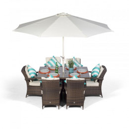 Giardina 6 seater rectangle set dark