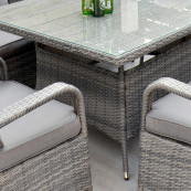 Rw 6 seat set with rectangular table dark grey