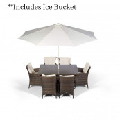 Sahara 6 seater rectangle set with ice bucket dark