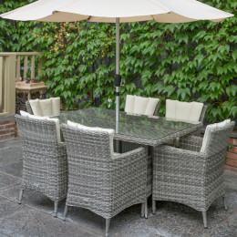 Oxford 6 seat set with rectangle table grey