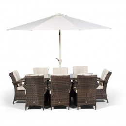 Giardina 8 seater rectangle set dark