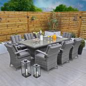 Rw 8 seat set with rectangular table dark grey