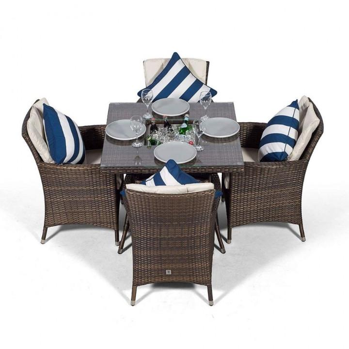 Sahara 4 seat set with square table ice bucket dark brown