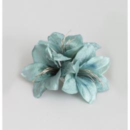 20cm amaryllis w clip aqua