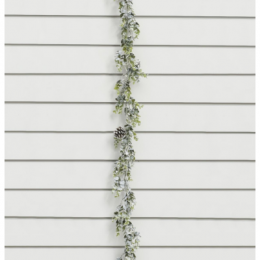 Frosted eucalyptus cone garland 165cm