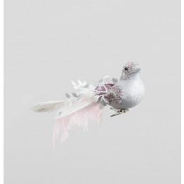 Glitter bird clip pink 23cm