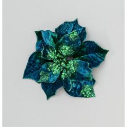 24cm velvet poinsettia blue green
