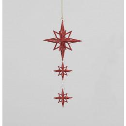 22cm glitter star dec red