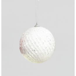 100mm glitter sequin ball white